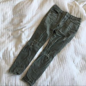Express distressed olive green stretchy jeans